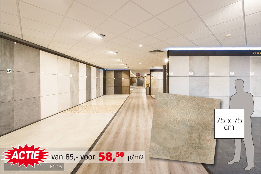 Betonlook postzegeldecor tegel | In 4 varianten